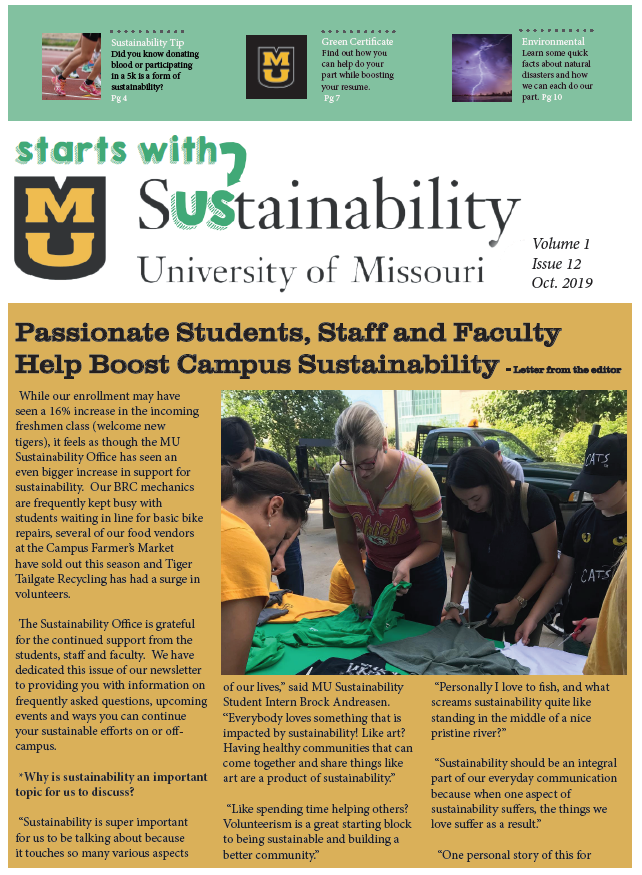 Example of the Sustainability Office's newsletter format from 2019.